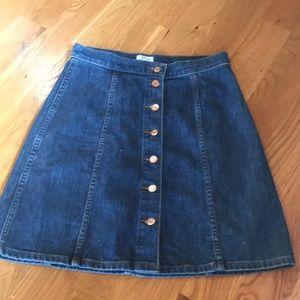 J crew denim skirt. Hits just above knee.